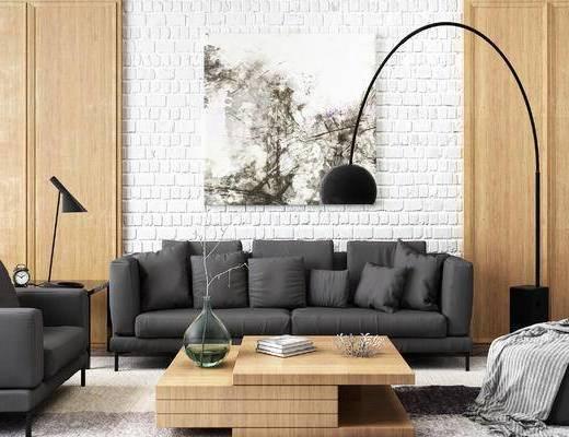 现代黑色布艺沙发, 落地灯, 茶几, 矮凳, 挂画, 椅子, 台灯, 摆设品, 装饰品