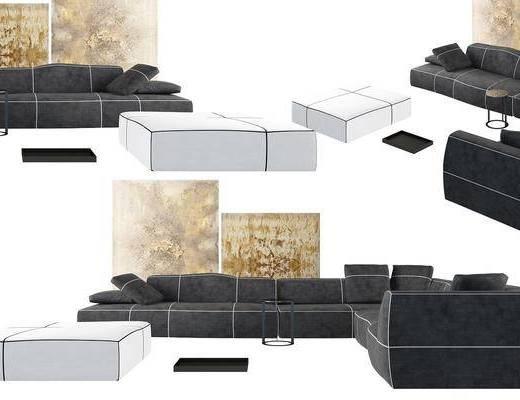 沙发组合, 多人沙发, 沙发凳, 装饰画, 现代