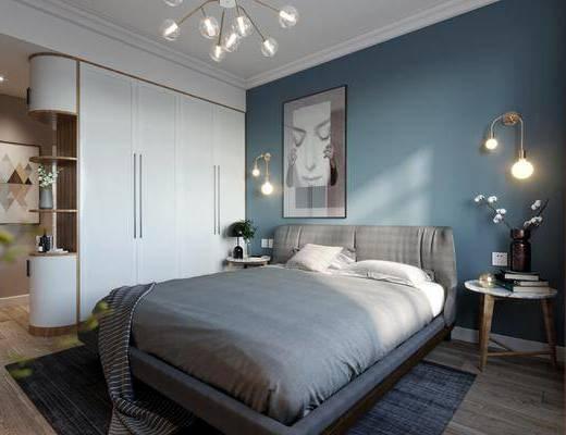 单人床, 衣柜, 装饰画, 吊灯, 边几