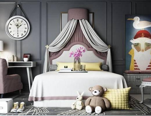 公主房, 女儿房, 现代, 床具, 简欧, 北欧