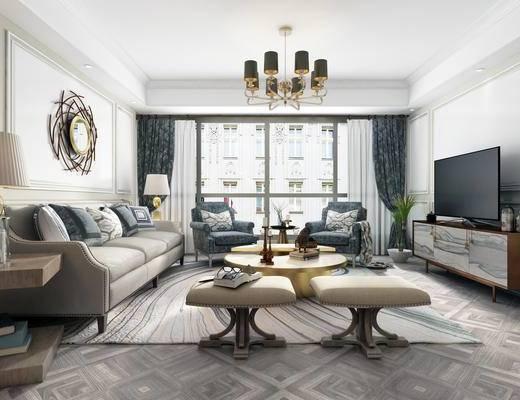 沙发组合, 墙饰, 茶几, 单椅, 电视柜, 植物, 窗帘