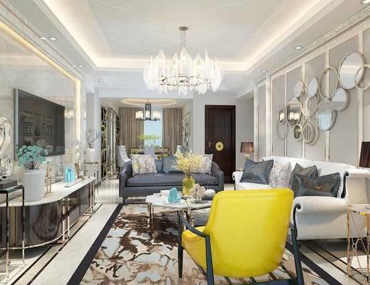 客餐厅, 简欧, 电视背景墙, 客厅, 沙发组合, 现代沙发, 沙发, 单椅, 吊灯