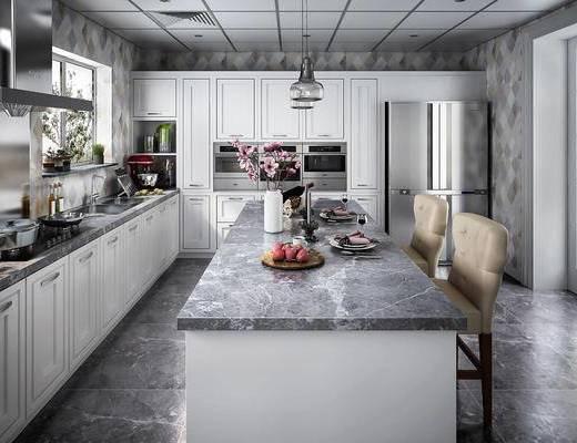 厨房, 橱柜, 厨具, 吧椅, 切菜台