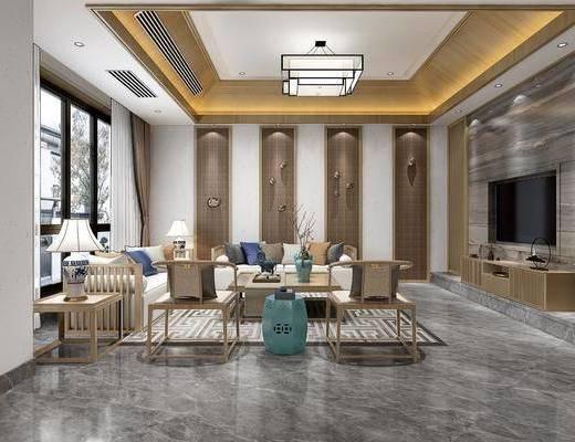 客厅, 沙发组合, 多人沙发, 茶几, 单人椅, 风景画, 吊灯, 边几, 台灯, 电视柜, 边柜, 墙饰, 干树枝, 凳子, 新中式