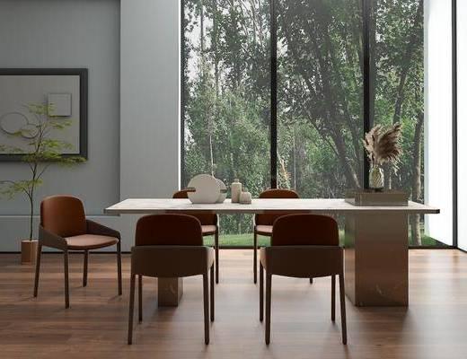 现代轻奢, 花瓶, 餐桌, 餐椅
