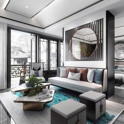 中式卧室, 新中式卧室, 沙发组合, 沙发茶几组合, 双人床, 新中式