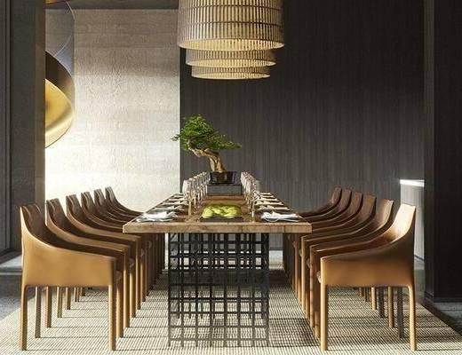 餐厅, 桌椅组合, 餐桌, 餐具组合, 吊灯, 旋转楼梯