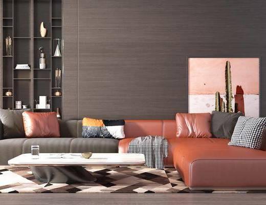 沙发组合, 地毯, 装饰画, 茶几