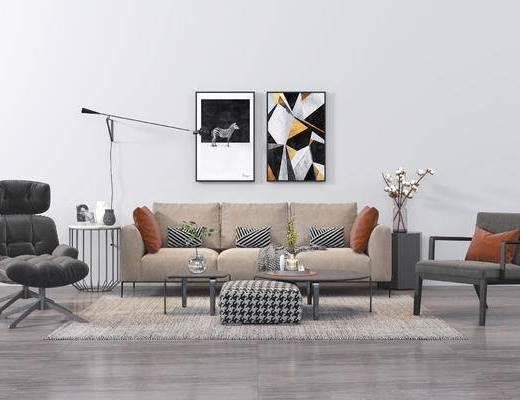 现代沙发, 沙发组合, 北欧沙发, 装饰画, 单人沙发, 茶几