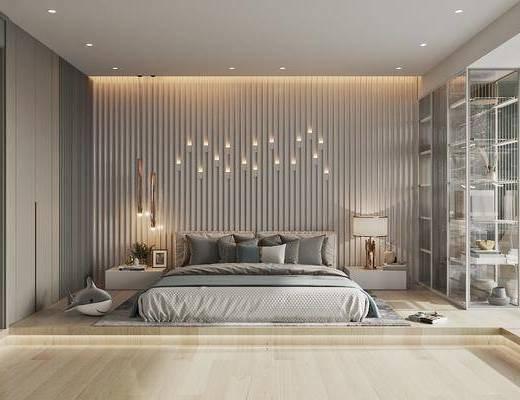 现代卧室, 现代双人床, 地毯