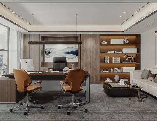现代办公室, 现代办公桌, 办公椅, 沙发, 边几, 吊灯