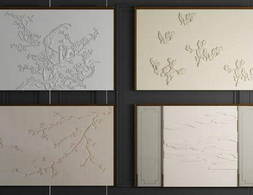 软包, 墙饰, 新中式墙饰软包, 浮雕