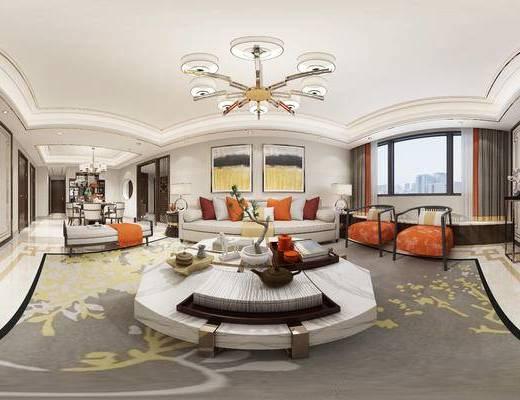 客厅, 餐厅, 新中式客餐厅, 全景图, 沙发组合, 茶几, 单椅, 吊灯, 摆件组合, 沙发凳, 桌椅组合, 新中式