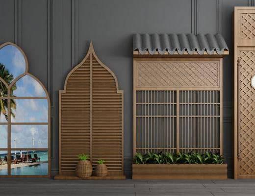 實木窗戶, 平開門組合, 落地燈, 新中式