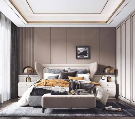 双人床, 床尾踏, 装饰画, 床头柜, 台灯, 衣柜