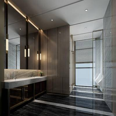 卫生间, 镜子, 便器, 现代