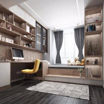 北欧榻榻米, 榻榻米, 卧室, 单人床