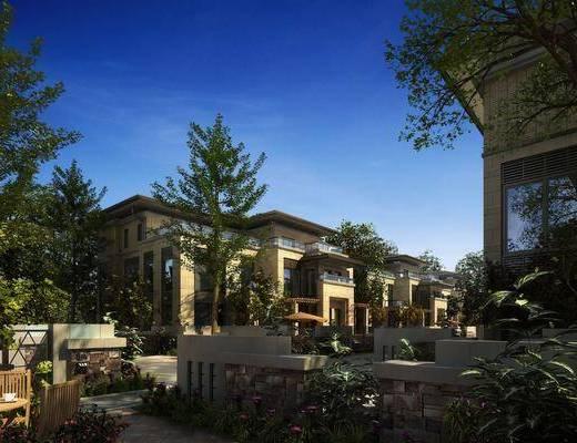 小区外观, 别墅, 树木, 绿植植物, 花卉, 门面门头, 联排别墅, 欧式