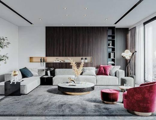 沙发组合, 茶几, 摆件, 单椅, 盆栽植物