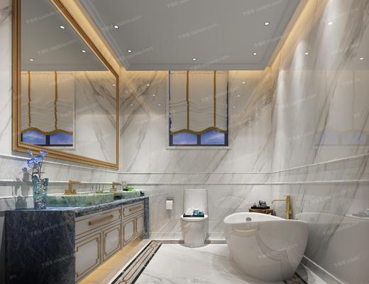 卫生间, 浴缸, 洗手台, 镜子, 便器