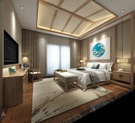 酒店客房, 卧室, 床具组合, 新中式酒店客房, 床尾榻, 电视柜, 单椅, 床头柜, 摆件组合, 新中式