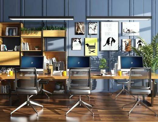 办公桌, 桌椅组合, 吊灯, 装饰画