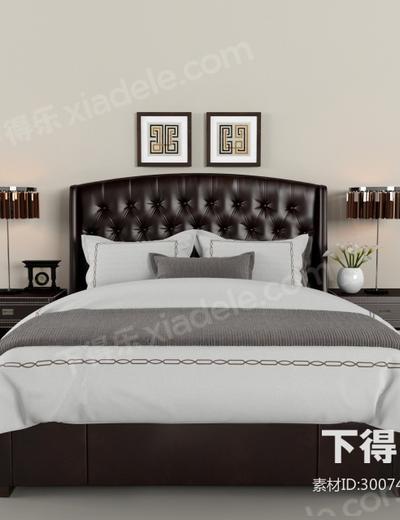 双人床, 床头柜, 床头灯, 挂画, 花卉, 摆件组合, 皮革, 现代
