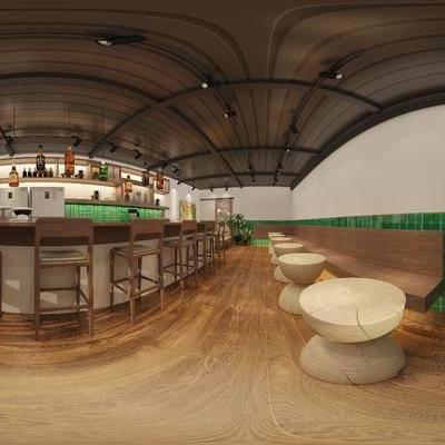 咖啡厅, 吧台, 吧椅, 茶几, 装饰品, 装饰柜, 摆件, 现代