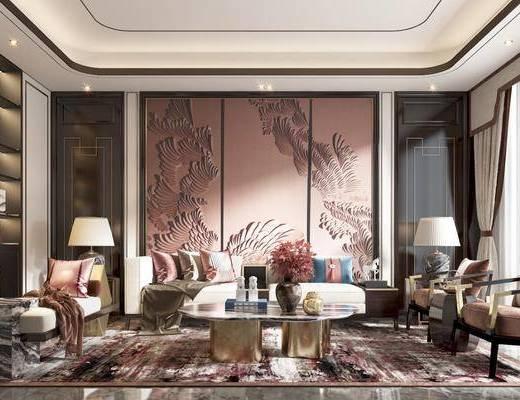沙发, 茶几, 椅子, 角几, 台灯, 书柜, 床尾踏, 挂画
