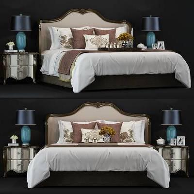 新古典, 美式, 床具, 双人床, 床头柜, 台灯, 摆件, 花瓶