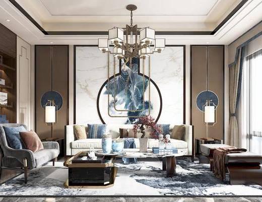 沙发, 茶几, 椅子, 角几, 台灯, 吊灯, 书柜, 床尾踏, 沙发背景墙