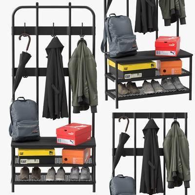 衣架, 衣服, 鞋子, 铁架, 鞋盒, 书包, 现代