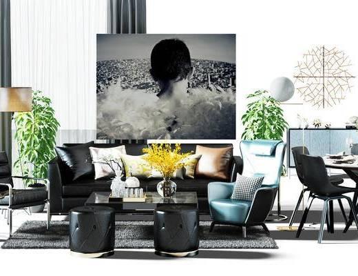 软装搭配, 窗帘, 沙发组, 圆桌, 桌椅组合, 餐桌, 餐桌椅组合, 边柜, 餐边柜, 沙发椅, 休闲椅, 沙发凳, 现代
