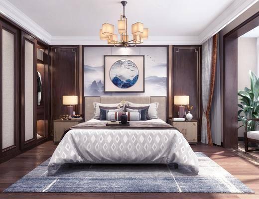 卧室, 双人床, 床头柜, 台灯, 吊灯, 盆栽, 绿植, 植物, 单人沙发, 边几, 落地灯, 电视柜, 边柜, 花瓶花卉, 衣柜, 服饰, 新中式