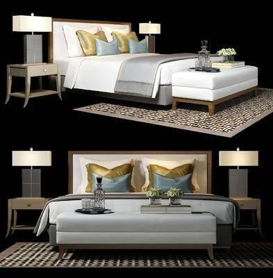 现代, 床具, 双人床, 台灯, 床头柜, 摆件, 尾榻, 陈设品, 书籍, 玻璃瓶