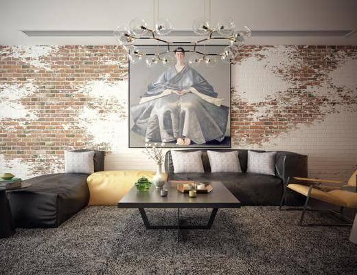 客厅, 沙发组合, 茶几, 工业风客厅, 工业风, 吊灯, 挂画, 装饰画, 摆件, 单椅, 休闲椅, 装饰品