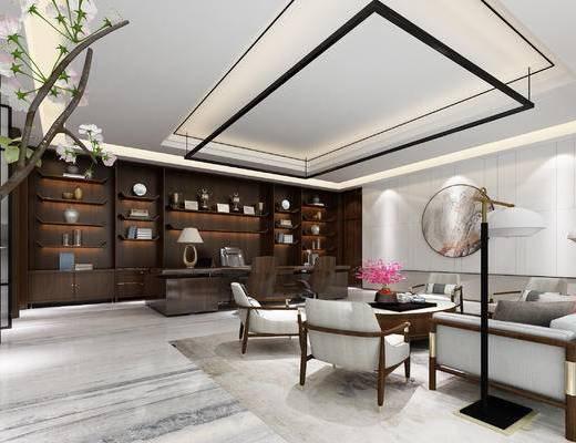 新中式, 办公室, 沙发, 茶几, 办公桌, 办公椅, 书柜, 书籍, 书架, 盆栽