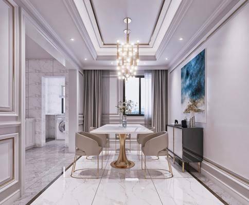 餐厅, 后现代, 餐桌, 椅子, 吊灯, 挂画, 边柜, 装饰柜, 厨房, 洗衣机, 花瓶