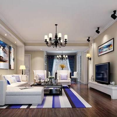 地中海, 客厅, 吊灯, 沙发组合, 沙发茶几组合