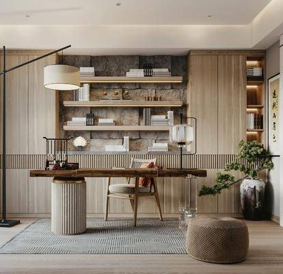 书桌, 桌椅组合, 书柜, 落地灯, 植物, 字画