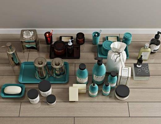 洗发水, 日用化妆品, 牙刷香皂, 洗漱用品, 摆件组合, 现代