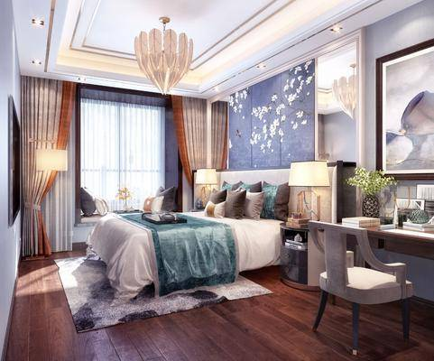 卧室, 双人床, 床头柜, 台灯, 吊灯, 壁灯, 装饰画, 挂画, 书桌, 单人椅, 新中式
