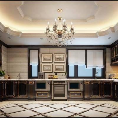 厨房, 美式厨房, 古典, 橱柜, 柜架组合, 储物柜, 吊灯, 烟灶消, 厨具, 摆件, 美式