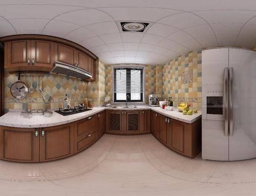 厨房, 橱柜, 冰箱, 厨具, 洗手台, 美式