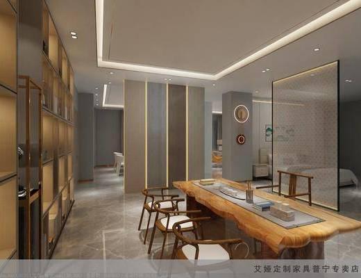 茶桌, 沙发组合, 吊灯, 植物, 装饰画