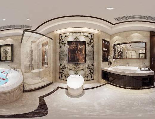 厨房, 卫浴, 洗浴组合, 浴缸, 洗手盆, 马桶, 装饰画