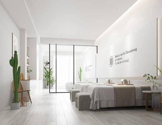 美容院, 单人床, 凳子, 盆栽, 边几, 装饰柜, 边柜, 吊灯, 摆件, 装饰品, 陈设品, 装饰画, 挂画, 现代