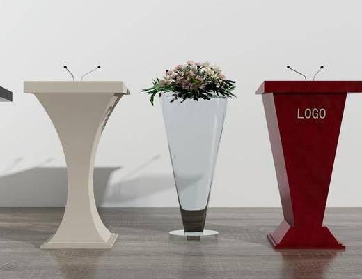 颁奖台, 演讲台, 咨询台, 花卉, 现代