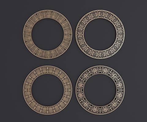 圆形雕花, 镂花, 中式, 双十一