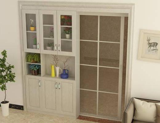 装饰柜, 绿植, 现代